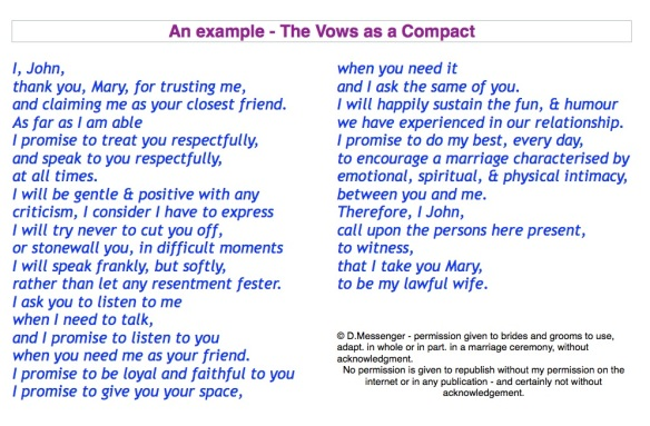 Vows as compact.